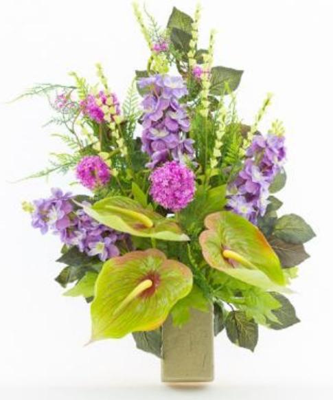 Connu Mazzo di fiori artificiali per loculo con Anthurium e Delphinium ML002 LC09