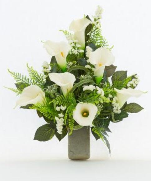 Super Mazzo di fiori artificiali per loculo con calle ML003 VK38