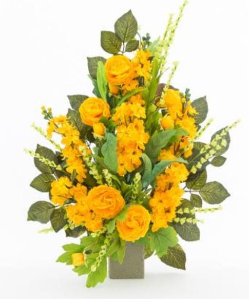 Connu Mazzo di fiori artificiali per loculo con dahlie ML007 LC09