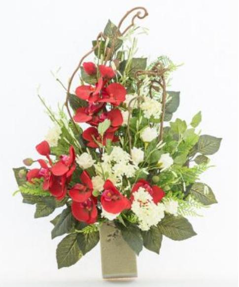 spesso Mazzo di fiori artificiali per loculo con orchidea e rami kiwi ML006 VM19