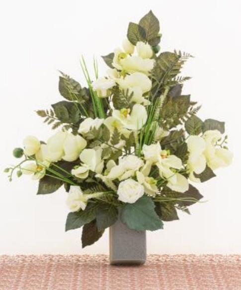 Connu Mazzo di fiori artificiali per loculo con orchidea e rose LC09