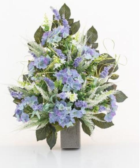 Amato Mazzo di fiori artificiali per loculo con ortensie e lavanda BZ13