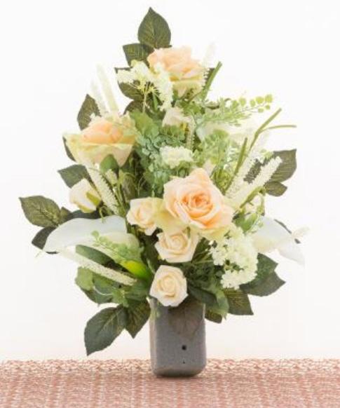 Eccezionale Mazzo di fiori artificiali per loculo con rose e calle QU42