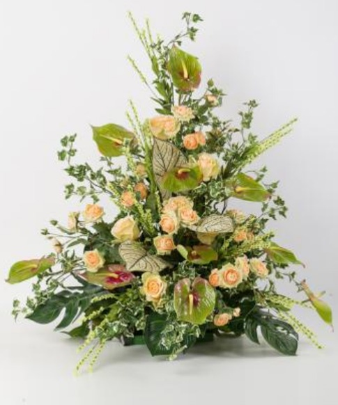 Monofaccia floreale con anthurium e rose altea artificiali CM006
